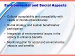 environmental and social aspects