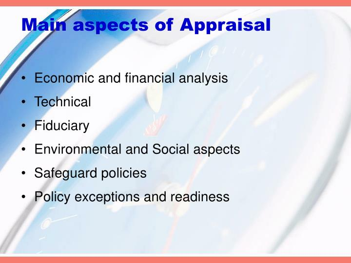 Main aspects of Appraisal