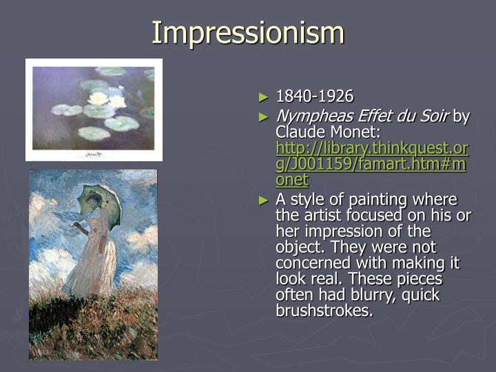 Ppt artists throughout time powerpoint presentation id for In their paintings the impressionists often focused on