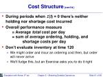 cost structure cont d