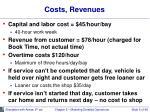 costs revenues