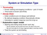 system or simulation type