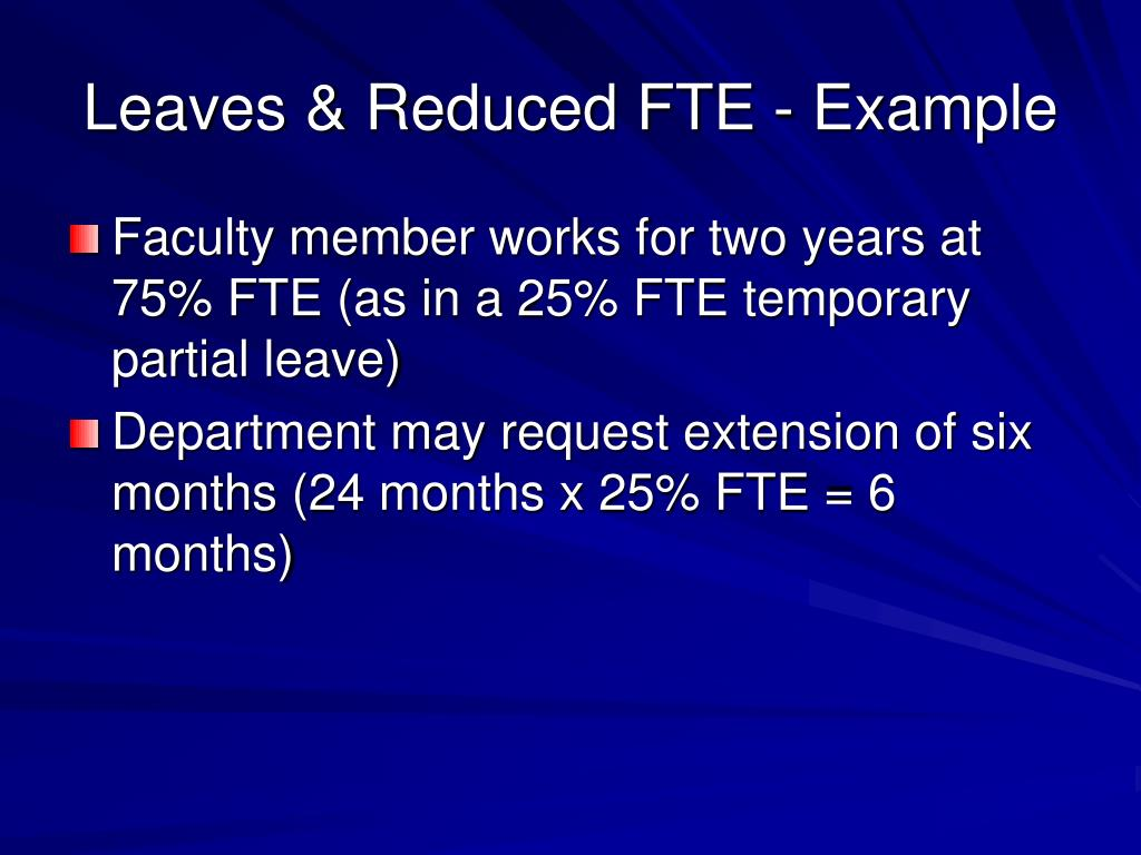 Leaves & Reduced FTE - Example