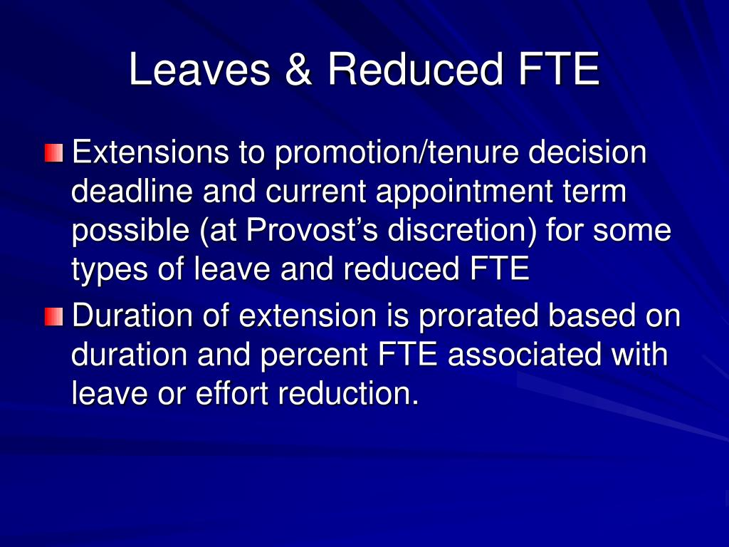 Leaves & Reduced FTE
