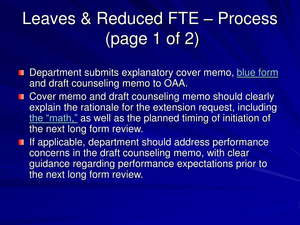 Leaves & Reduced FTE – Process