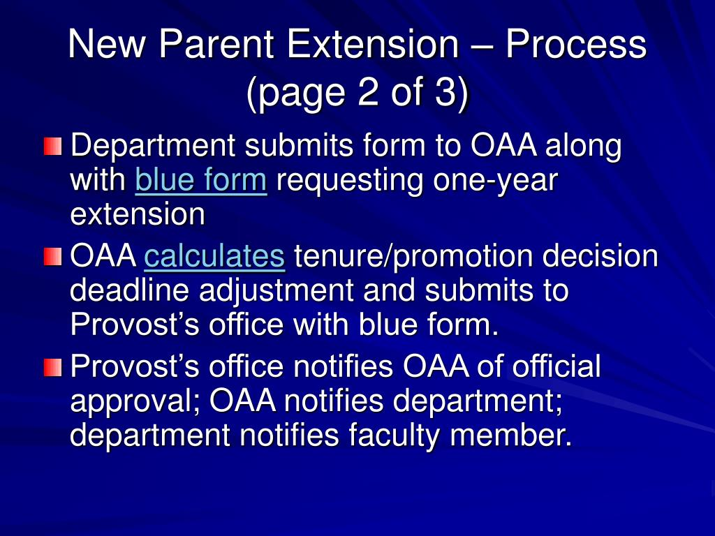 New Parent Extension – Process