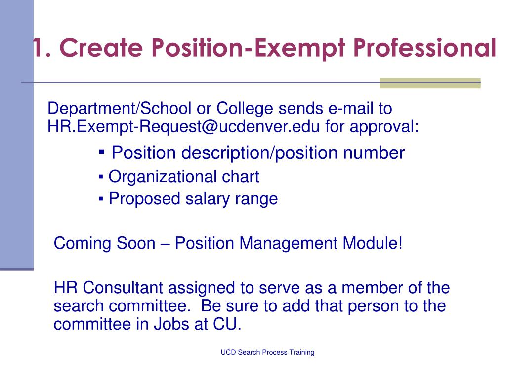 1. Create Position-Exempt Professional