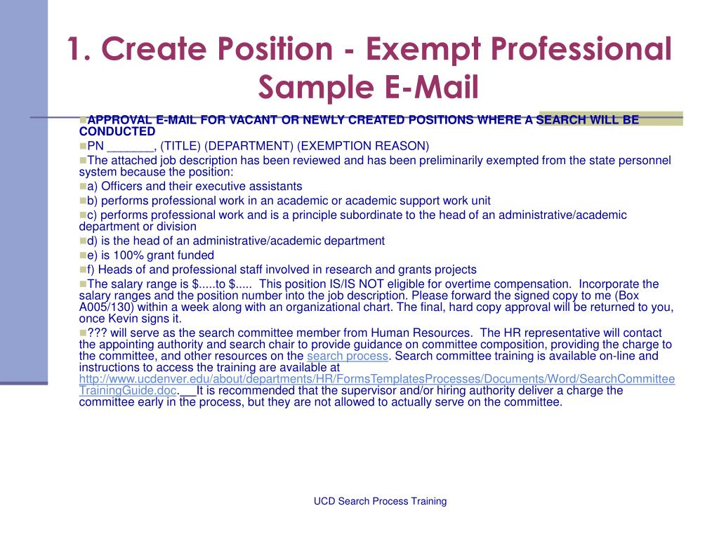 1. Create Position - Exempt Professional