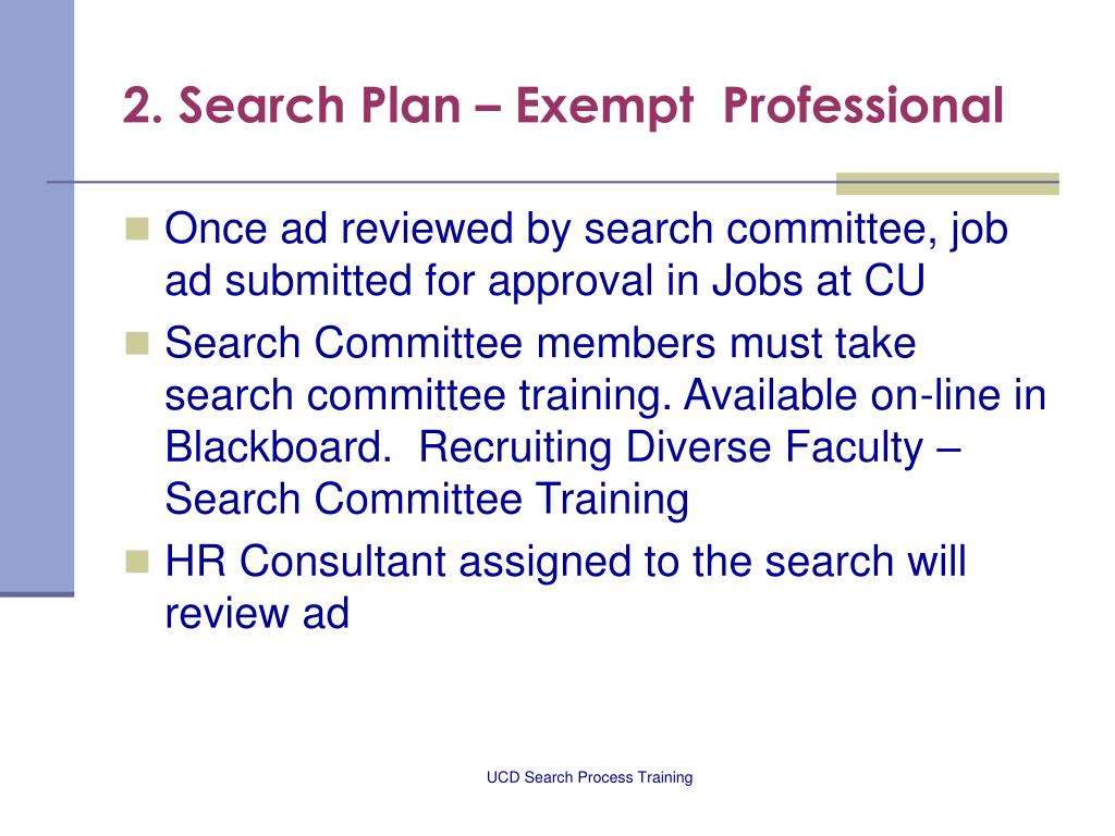 2. Search Plan – Exempt  Professional