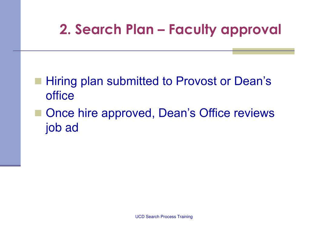 2. Search Plan – Faculty approval
