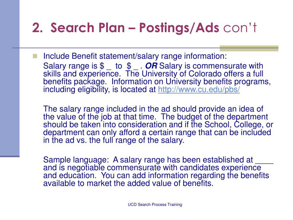 2.  Search Plan – Postings/Ads