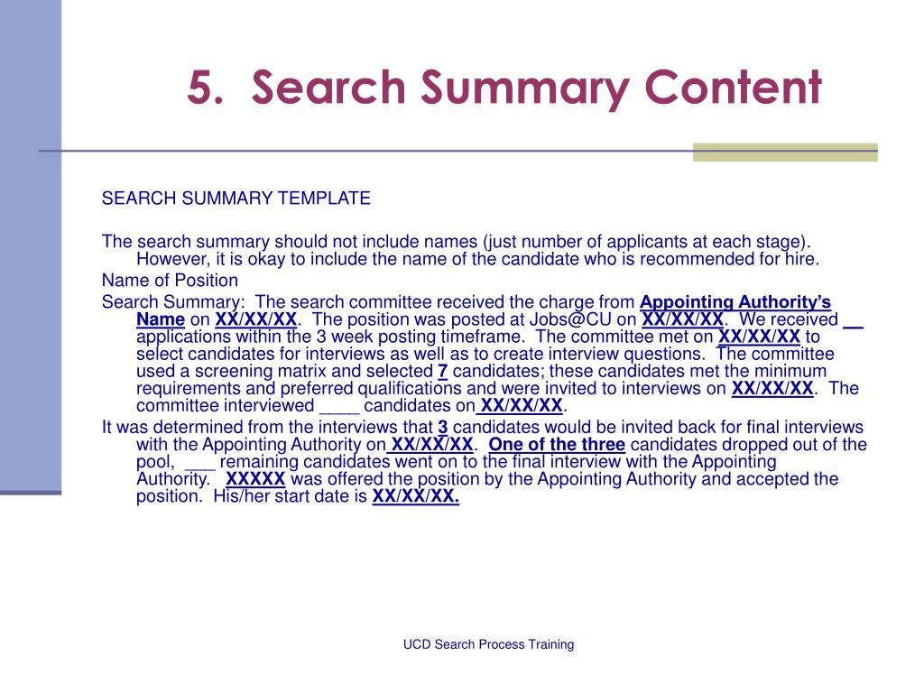 5.  Search Summary Content