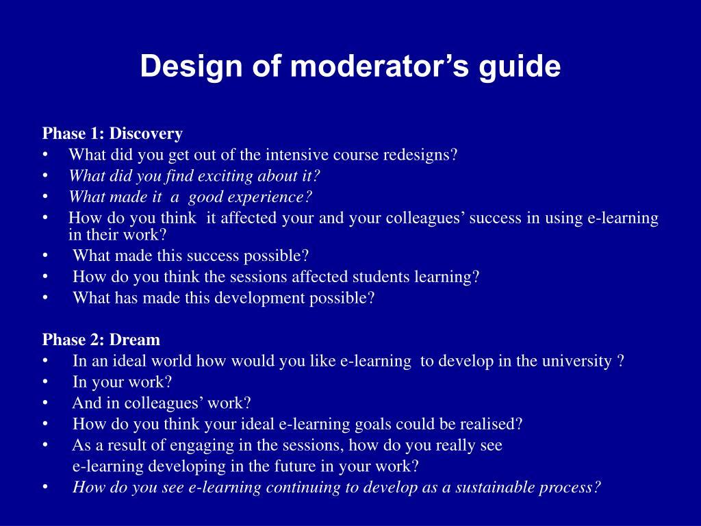 Design of moderator's guide