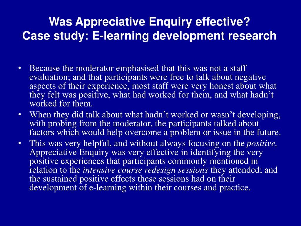Was Appreciative Enquiry effective?