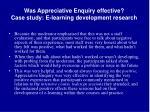 was appreciative enquiry effective case study e learning development research