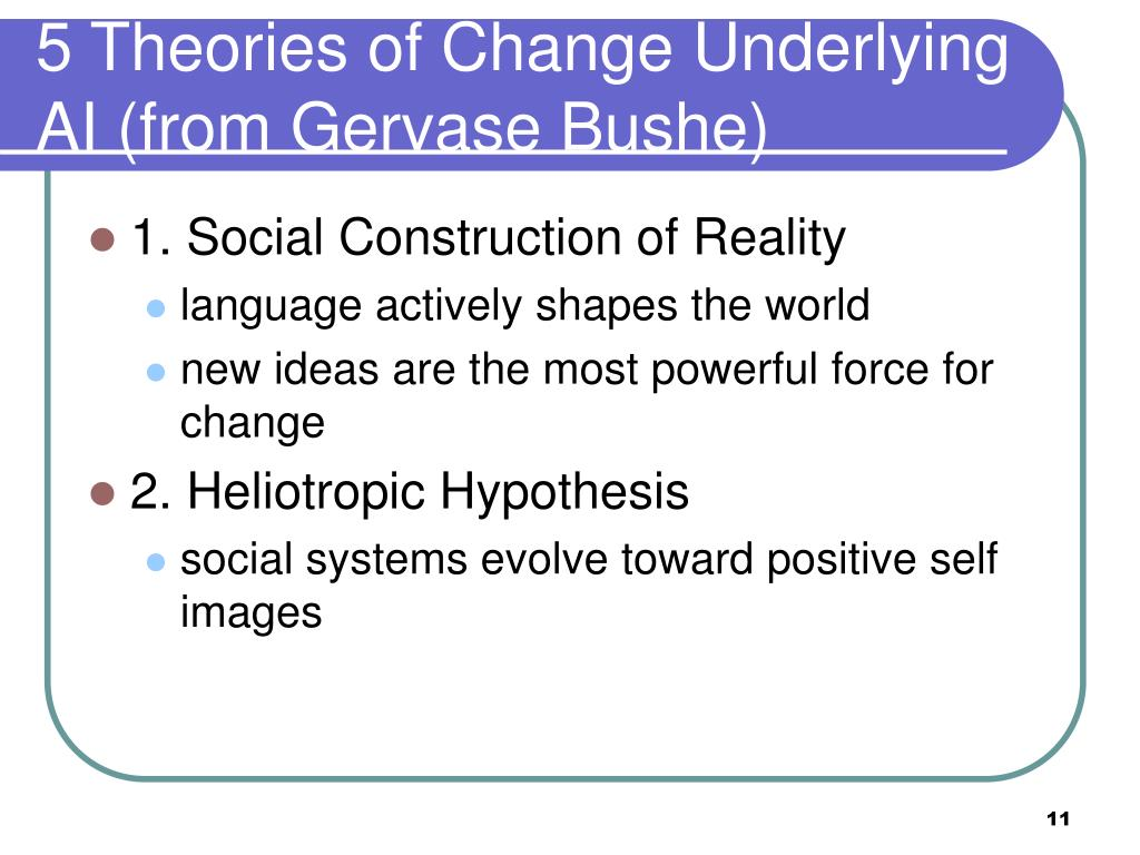 5 Theories of Change Underlying AI (from Gervase Bushe)