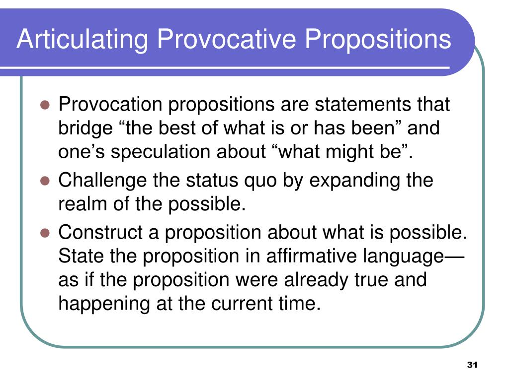 Articulating Provocative Propositions