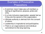 examples of provocative propositions