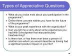 types of appreciative questions