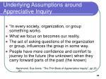 underlying assumptions around appreciative inquiry