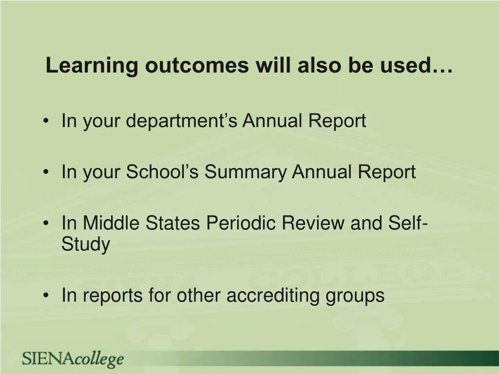Learning outcomes will also be used…