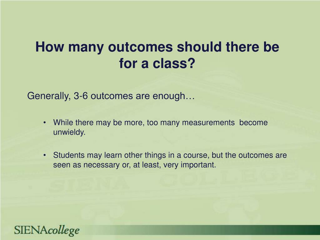 How many outcomes should there be for a class?
