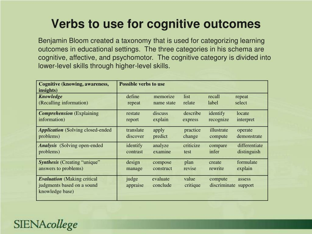 Verbs to use for cognitive outcomes