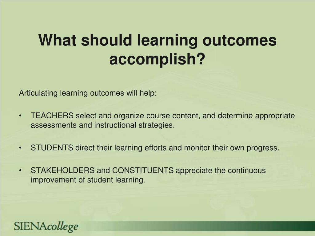 What should learning outcomes accomplish
