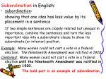 subordination in english