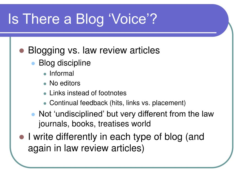 Is There a Blog 'Voice'?
