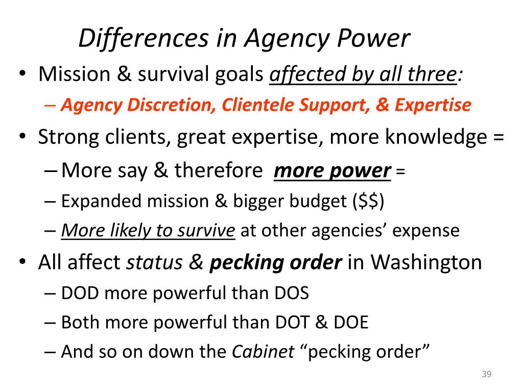 Differences in Agency Power