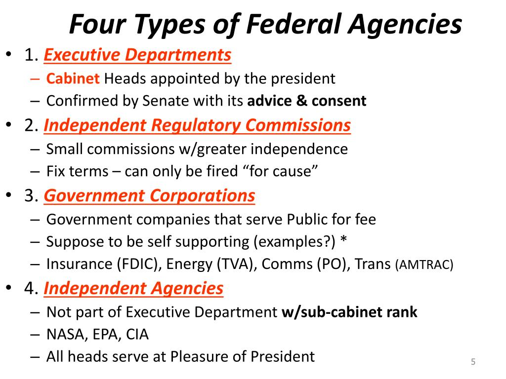 Four Types of Federal Agencies