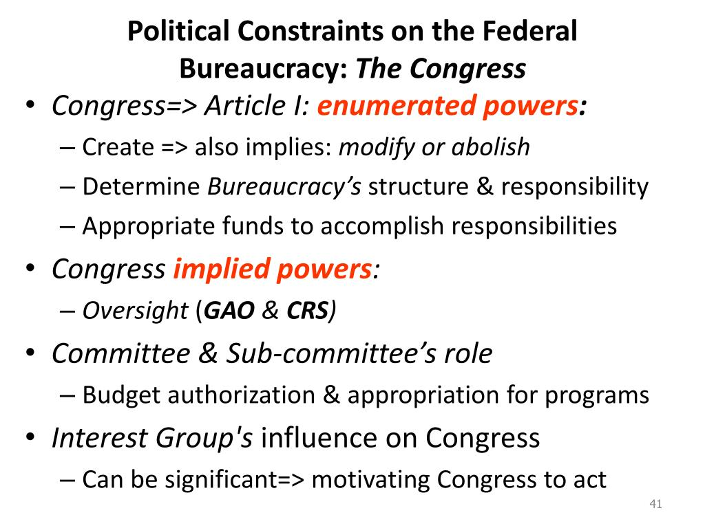 political science and federal bureaucracy The federal bureaucracy plays a major role in the creation of laws this is because they use the leeway given to them by congress when congress writes laws, it typically leaves out many of the.