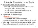 potential threats to those goals