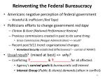 reinventing the federal bureaucracy