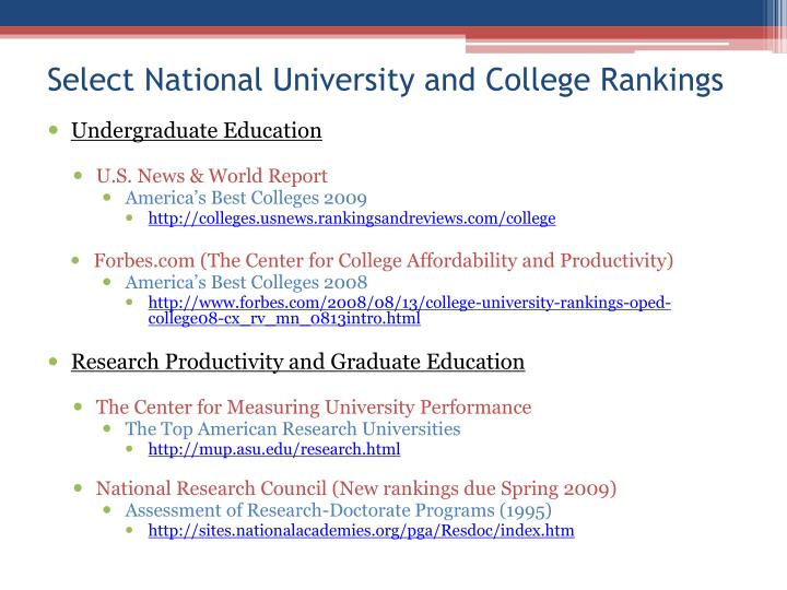 Select national university and college rankings