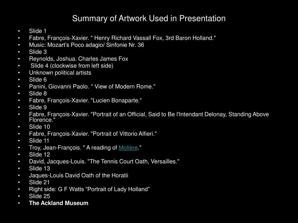 Summary of Artwork Used in Presentation