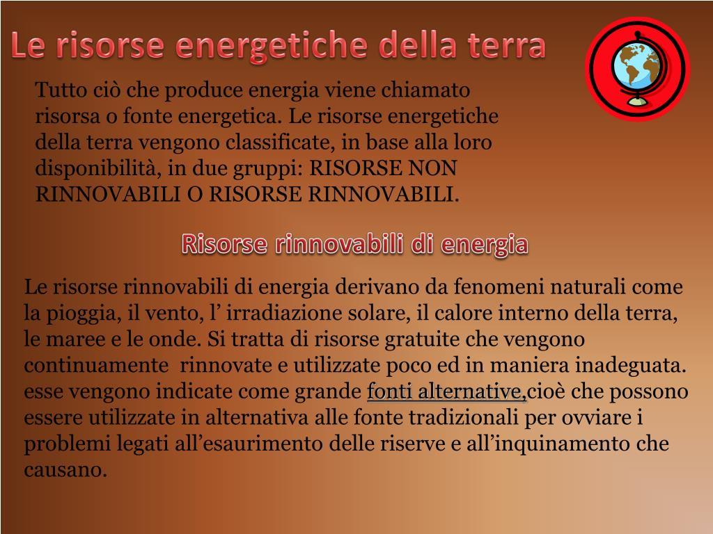 Le risorse energetiche della terra