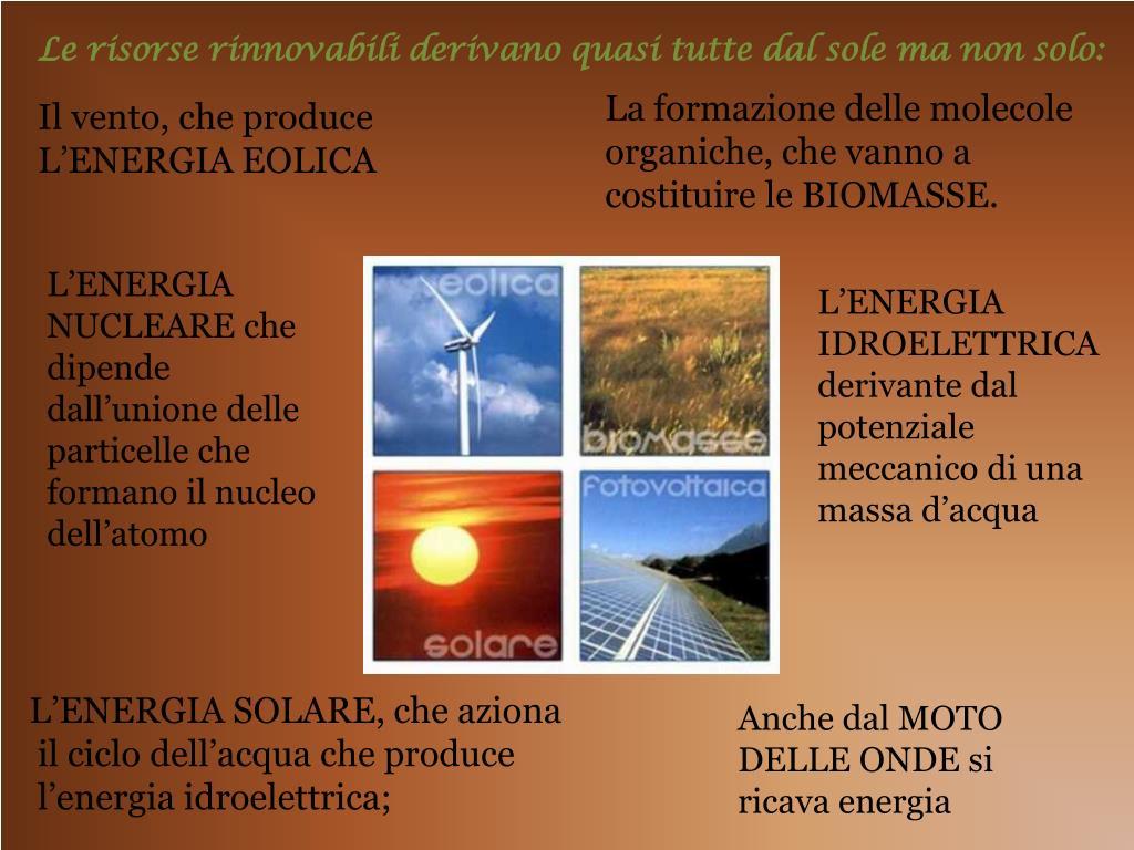 Le risorse rinnovabili derivano quasi tutte dal sole ma non solo: