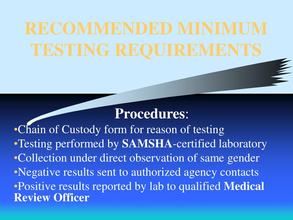 RECOMMENDED MINIMUM TESTING REQUIREMENTS