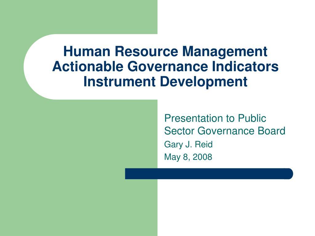 Human Resource Management Actionable Governance Indicators Instrument Development