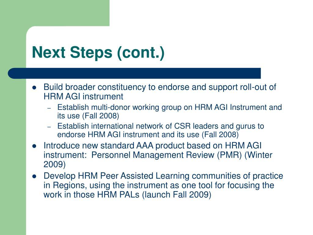Next Steps (cont.)