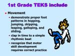 1st grade teks include