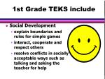 1st grade teks include30