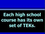 each high school course has its own set of teks