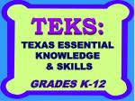 teks texas essential knowledge skills