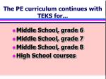 the pe curriculum continues with teks for