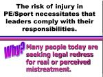 the risk of injury in pe sport necessitates that leaders comply with their responsibilities