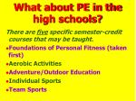 what about pe in the high schools