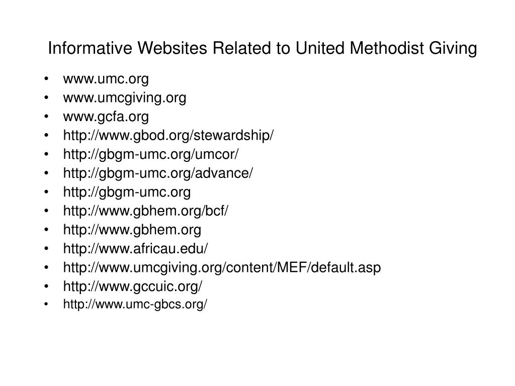 Informative Websites Related to United Methodist Giving